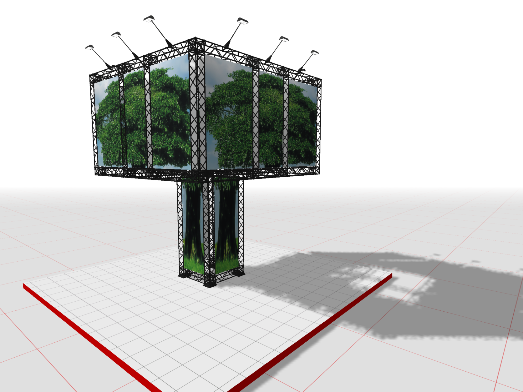A treetop booth with spotlights